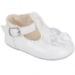 Baby Girls White Patent Baypods Pram Shoes