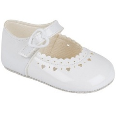 Baby Girls White Patent Heart Baypods Pram Shoes