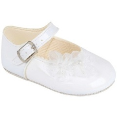 Baby Girls White Patent Organza Flower Christening Pram Shoes