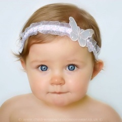 Baby Girls White & Pink Organza Headband with Satin Butterfly