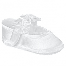Baby Girls White Satin Flower Rosette Christening Shoes