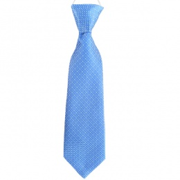 Boys Blue Dot Satin Tie on Elastic