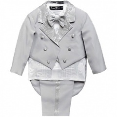 Baby Boys Light Grey 5 Piece Tuxedo Tail Suit
