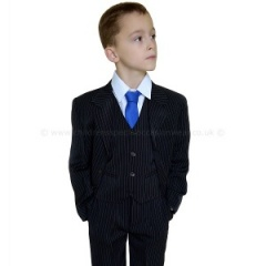 Boys Black & White First Holy Communion Pinstripe Suit