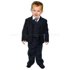Boys Dark Navy 5 Piece Jacket Suit