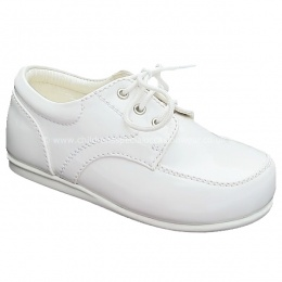 Boys White Patent Formal First Walker Lace Up Shoes