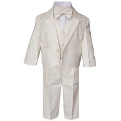 Baby Boys Ivory 5 Piece Bow Tie Suit