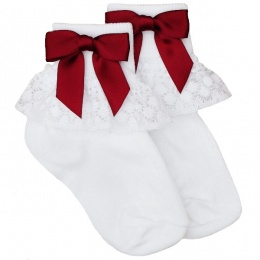 Girls White Lace Socks with Burgundy Satin Bows