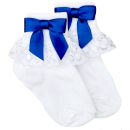 Girls White Lace Socks with Royal Blue Satin Bows