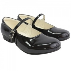 Girls Black Patent Ballerina Style Special Occasion Shoes