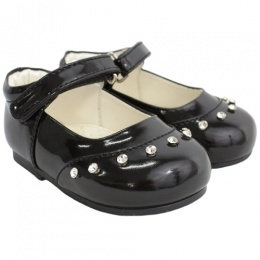 Girls Black Patent 'Fairy' Diamante Special Occasion Shoes