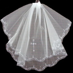 Girls First Holy Communion White Cross Veil with Diamante Trim