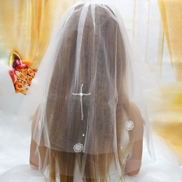 Girls First Holy Communion White Cross Veil with Emb Flowers