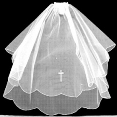 Girls First Holy Communion White Veil with Diamante Cross
