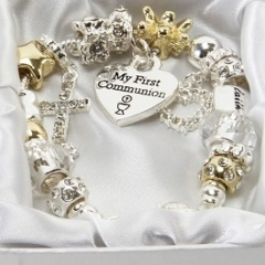 Girls Gold & Silver My First Communion Charm Bracelet