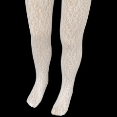 Girls Ivory Floral Lace Christening Wedding Tights