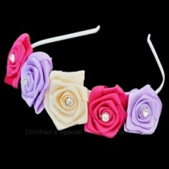 Girls Multi Coloured Diamante Rose Satin Headband Alice Hair Band