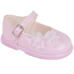Girls Pink Patent Organza Flower Special Occasion Shoes