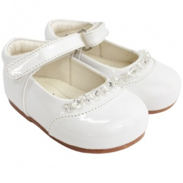 Girls White Patent Diamante Special Occasion Shoes
