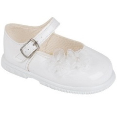Girls White Patent Organza Flower Special Occasion Shoes