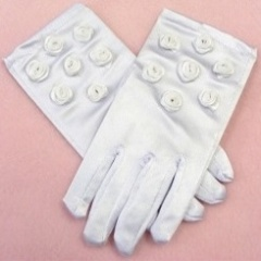 Girls White Rose Satin Gloves