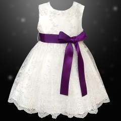 Girls Ivory Floral Lace Dress with Purple Satin Sash