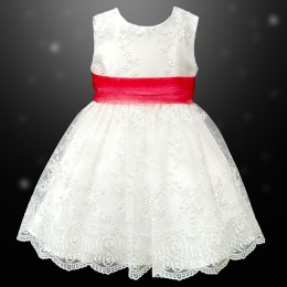 Girls Ivory Floral Lace Dress with Red Organza Sash