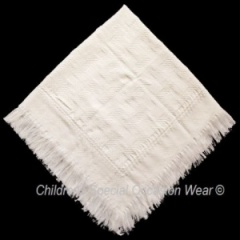 Ivory Acrylic Baby Christening Baptism Patterned Fringed Shawl