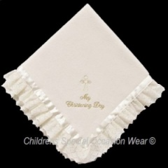 Ivory Baby My Christening Day Fleece Shawl with Lace & Ribbon