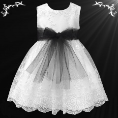 Girls White Floral Lace Dress with Black Organza Sash