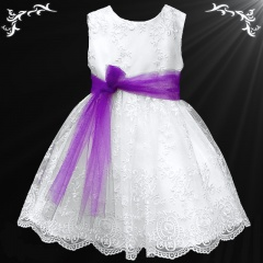 Girls White Floral Lace Dress with Purple Organza Sash