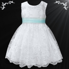 Girls White Floral Lace Dress with Sky Blue Organza Sash