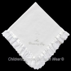 White Baby My Christening Day Fleece Shawl with Lace & Ribbon