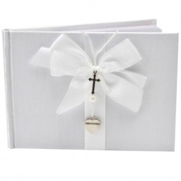 White Christening Guest Book with Silver Heart & Cross