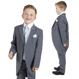Boys Grey & Blue 6 Piece Slim Fit Tail Jacket Suit