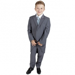 Boys Grey & Blue Swirl 6 Piece Slim Fit Tail Jacket Suit