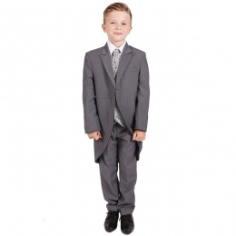 Boys Grey Swirl 6 Piece Slim Fit Tail Jacket Suit