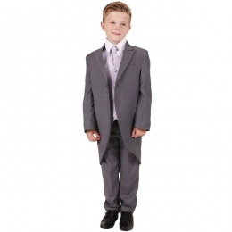 Boys Grey & Lilac Swirl 6 Piece Slim Fit Tail Jacket Suit