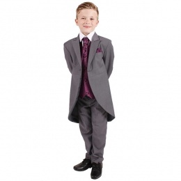 Boys Grey & Purple 6 Piece Slim Fit Tail Jacket Suit