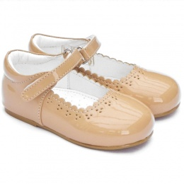 Girls Camel Patent Brogue Special Occasion Shoes