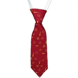 Baby Boys Burgundy with Gold Pattern Tie on Elastic