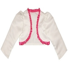 Girls Ivory & Cerise Pink Satin Long Sleeved Bolero
