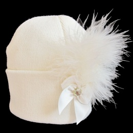 Baby Girls Ivory Marabou Feather & Bow Plume Hat