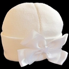 Baby Girls Ivory Hat with Large Satin & Organza Bow