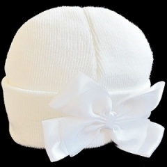 Baby Girls White Hat with Large Satin & Organza Bow
