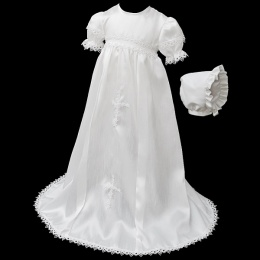 Baby Girls White Dupion Lace & Cross Gown with Bonnet