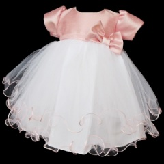 Baby Girls White & Pink Hearts & Bow Tulle Dress