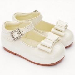 Girls Ivory Patent Double Bow Special Occasion Shoes