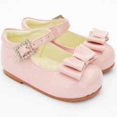 Girls Pink Patent Double Bow Special Occasion Shoes