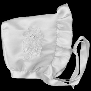 Baby Girls White Satin Bonnet with Embroidered Flower
